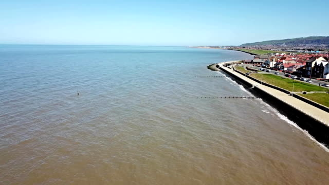 Aerial view of Rhyl in Wales - UK video
