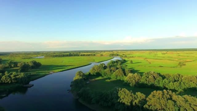 aerial view of river - równina filmów i materiałów b-roll