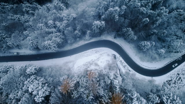 Aerial view of road in winter video
