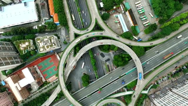 近代的な都市のミッドタウンの道路のジャンクションの航空写真 - 広東省点の映像素材/bロール