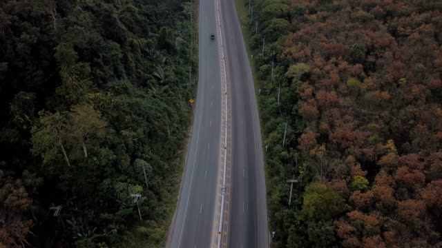 Aerial view of road tirp with mountain in Thailand video