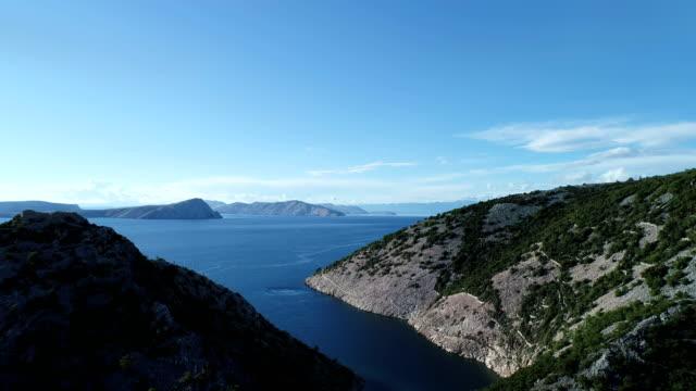 aerial view of rocky coast with estuary - хорватия стоковые видео и кадры b-roll