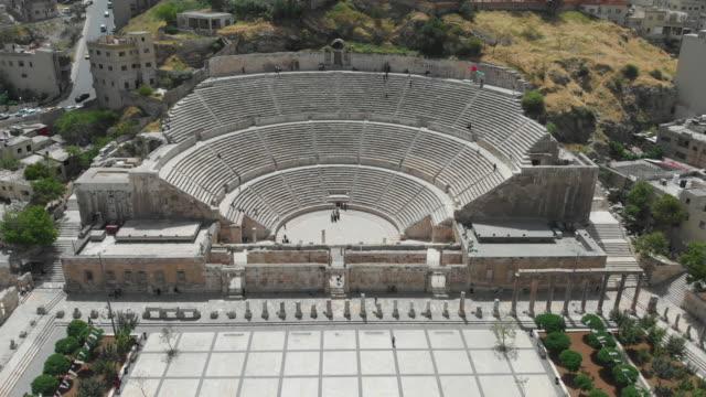 Aerial View Of Roman Theatre In Amman - Jordan. 4K