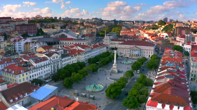 aerial view of rossio square, lisbon portugal. - lisbona video stock e b–roll