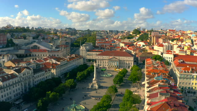 Aerial view of Rossio Square, Lisbon Portugal.