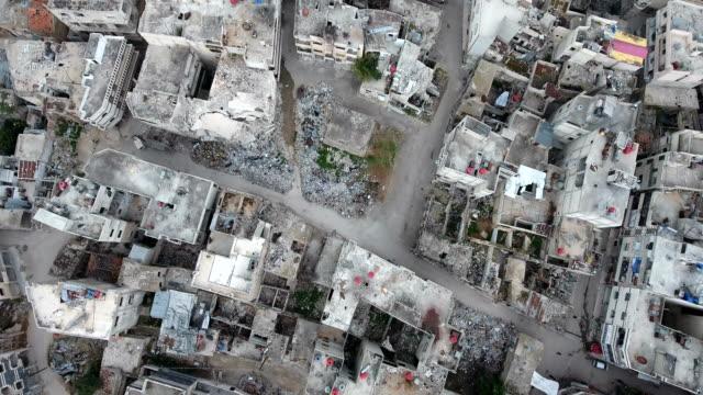 シリアで荒廃した建物の空中写真 - 残骸点の映像素材/bロール