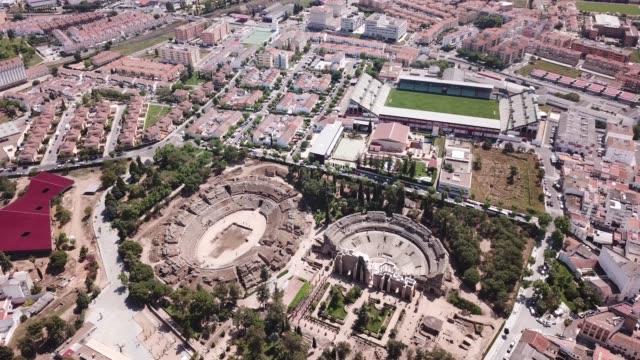 Aerial view of ruins of antique Roman amphitheatre