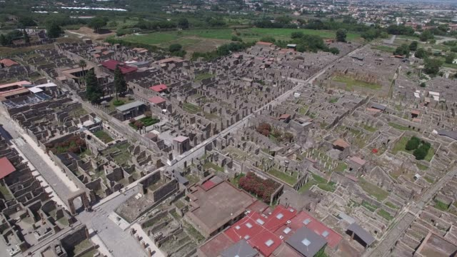 Aerial View of Ruins of Pompeii, Italy video
