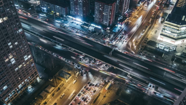 T/L WS HA PAN Aerial View of Rush Hour Traffic / Beijing, China video