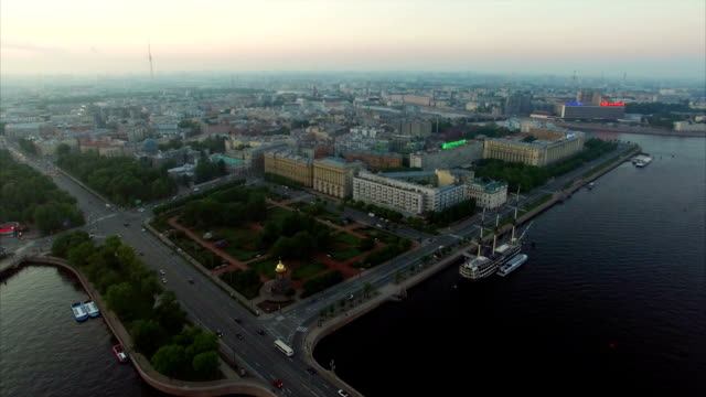 Aerial view of Saint-Petersburg embankment at the evening video