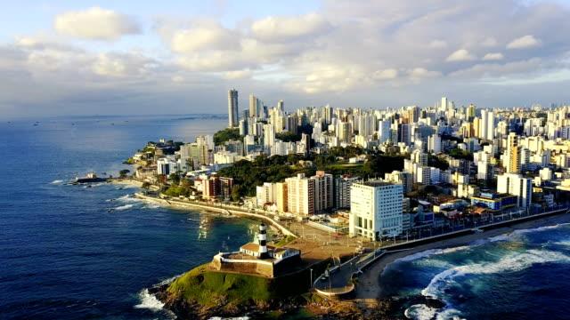 aerial view salvador da bahia stadsbilden, bahia, brasilien - brasilien bildbanksvideor och videomaterial från bakom kulisserna