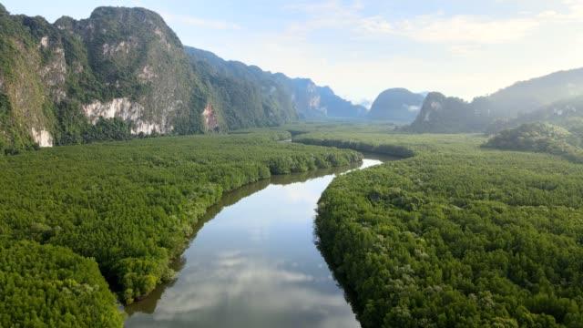 パンガー、タイのサメットナンシェの空中写真 - 雨林点の映像素材/bロール