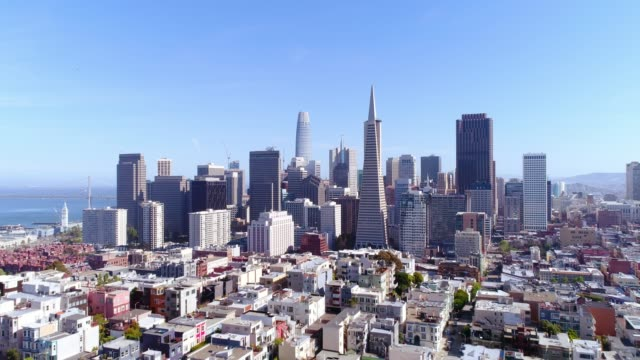 Aerial view of San Francisco city skyline on beautiful sunny clear day