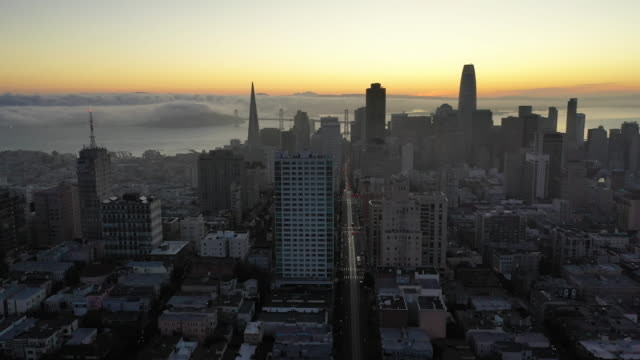 Aerial View of San Francisco Financial District at Sunrise