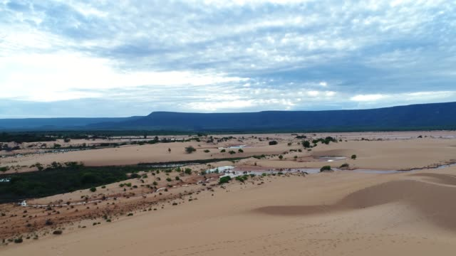 Aerial View of Sand dunes in Jalapão, Tocantins, Brazil Sand dunes in Jalapão, Tocantins, Brazil desert oasis stock videos & royalty-free footage