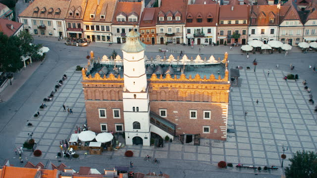 Aerial view of Sandomierz cityscape. Old Town with Main Square view