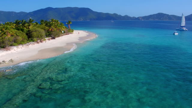 Aerial view of Sandy Cay, British Virgin Islands video