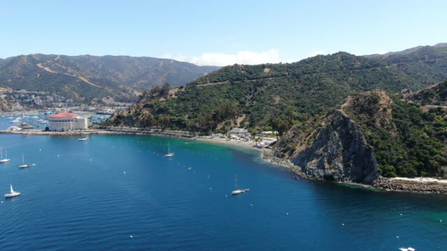 Aerial view of Santa Catalina Island with Avalon and Descanso calm bay. USA