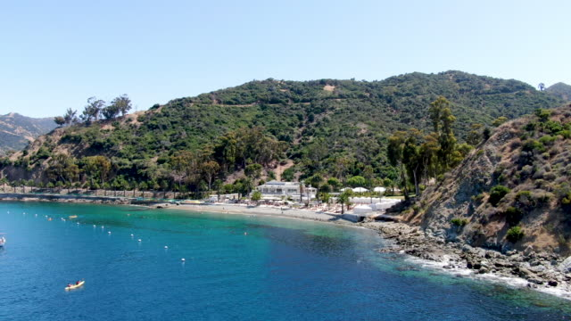 Aerial view of Santa Catalina Island with Descanso bay and beach club. USA