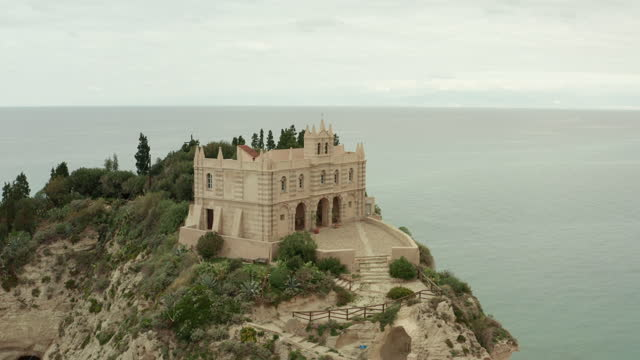 Aerial view of Santa Maria dell Isola church in Tropea - Italy