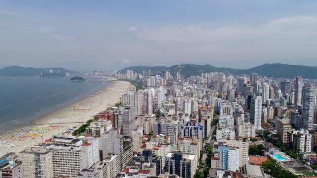 aerial view of santos in the state of sao paulo, brazil - são paulo video stock e b–roll