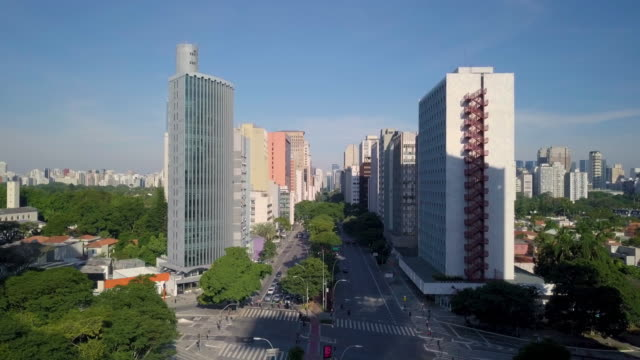 Aerial view of Sao Paulo avenue and streets with drone Aerial view of Brigadeiro Faria Lima avenue during quarantine general view stock videos & royalty-free footage
