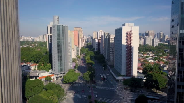 Aerial view of Sao Paulo skyline with drone Aerial view of Brigadeiro Faria Lima avenue and streets with buildings during quarantine general view stock videos & royalty-free footage