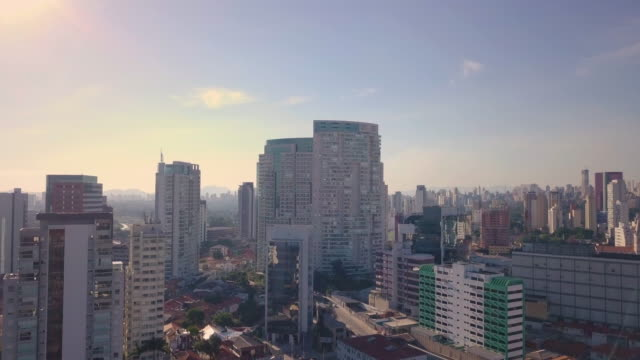 Aerial view of Sao Paulo skyline with drone Aerial view of Sao Paulo during quarantine general view stock videos & royalty-free footage