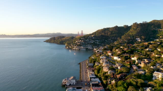 Aerial View of Sausalito with Golden Gate Bridge