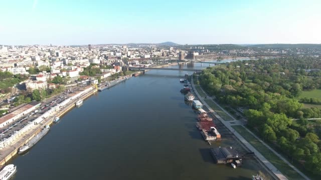 aerial view of sava river and cityscape of serbian capital belgrade city with buildings and nature view from above - белград стоковые видео и кадры b-roll