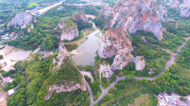 Aerial view of Scenic Rocky Mountain and Lake, Khao Ngu, Thailand video