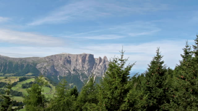 Aerial view of Sciliar mountains and Seiser Alm video
