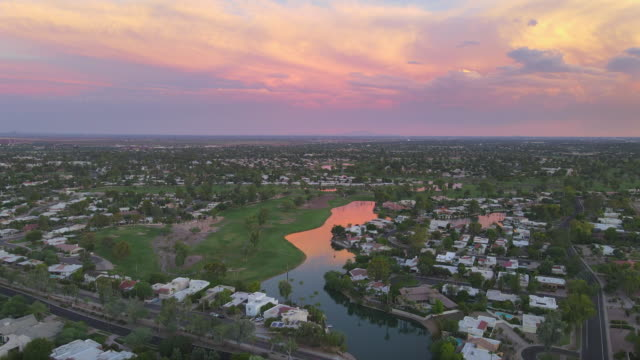 Aerial view of Scottsdale at dusk, beautiful red sky,Arizona,USA