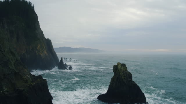 Aerial View of Sea Cliffs with Dramatic Light in the Pacific Northwest video