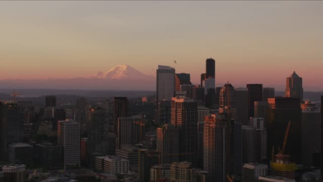 Aerial view of Seattle and Mt. Rainier at sunrise.