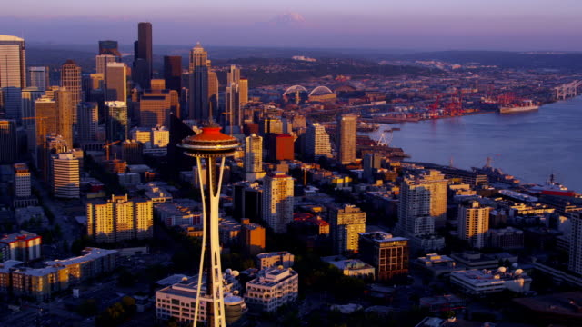 Aerial view of Seattle Skyline at sunset