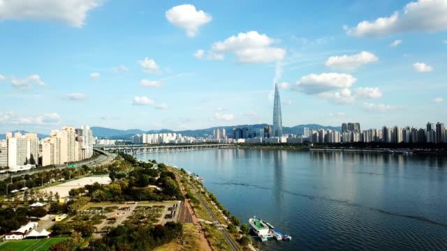 vídeos y material grabado en eventos de stock de vista aérea de la ciudad horizonte seúl - n seoul tower
