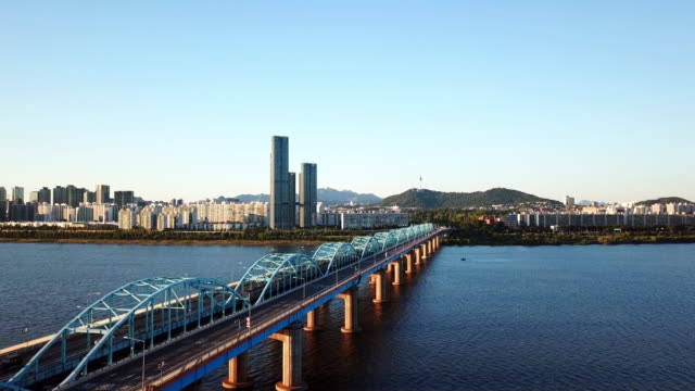 vídeos de stock e filmes b-roll de aerial view of seoul city skyline,south korea - seul