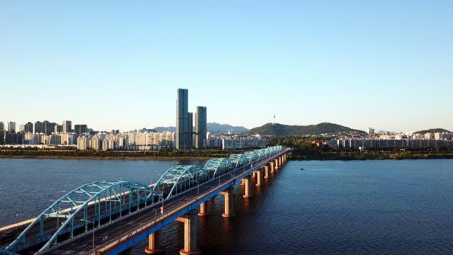 aerial view of seoul city skyline,south korea - corea del sud video stock e b–roll