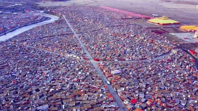 Aerial view of shacks of buddhist monks
