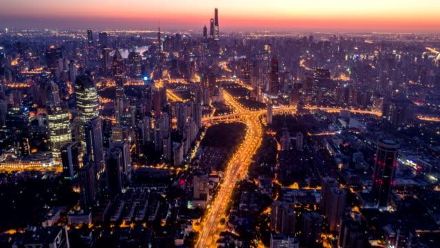 luftaufnahme von shanghai in der morgendämmerung, zeitraffer - panorama stock-videos und b-roll-filmmaterial