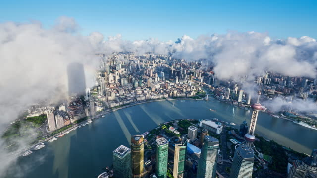 4K: Aerial View of Shanghai Cityscape in Morning at Time Lapse, China