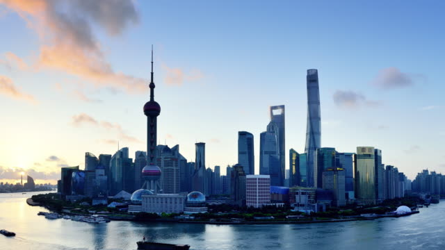 Aerial View of Shanghai Cityscape, Shanghai, China video