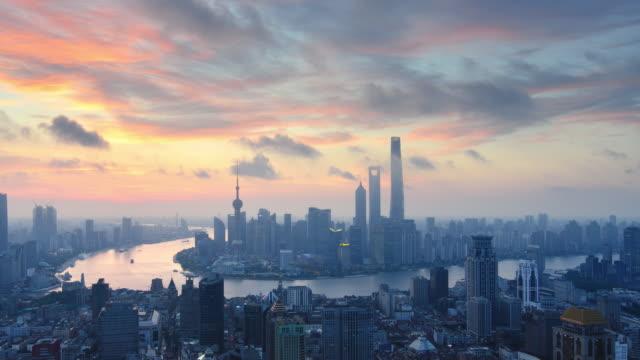 aerial view i shanghai, gryning till dagtid förfaller - pink sunrise bildbanksvideor och videomaterial från bakom kulisserna