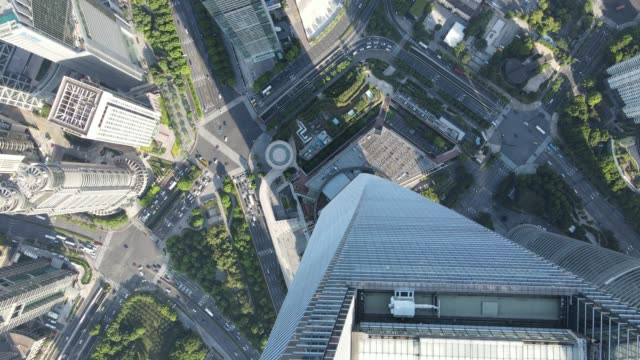 Aerial view of Shanghai downtown Lujiazui financial district drone top view