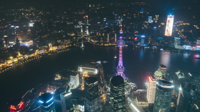 T/L WS HA ZI Aerial View of Shanghai Skyline at Night / Shanghai, China video