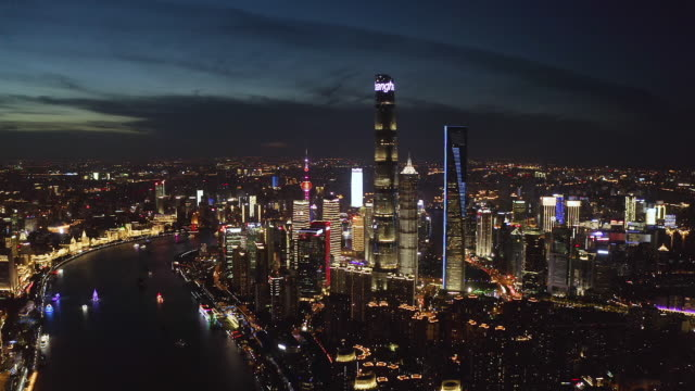 Aerial view of Shanghai skyline at sunset