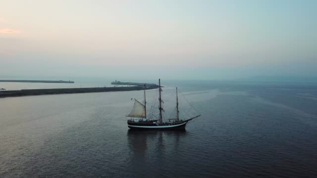 aerial view of ship in harbour in Dun Laoghaire, Dublin. aerial view of ship in harbour in Dun Laoghaire, Dublin. 19th century style stock videos & royalty-free footage