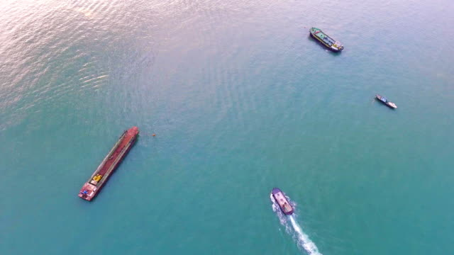 Aerial view of ship sailling in the sea video