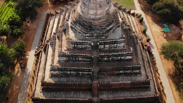 Aerial view of Shwesandaw Pagoda, Bagan, Myanmar Ancient Temples in Bagan old ruin stock videos & royalty-free footage